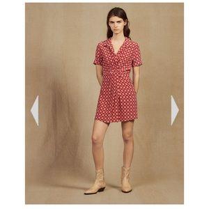 Sandro red silk dress